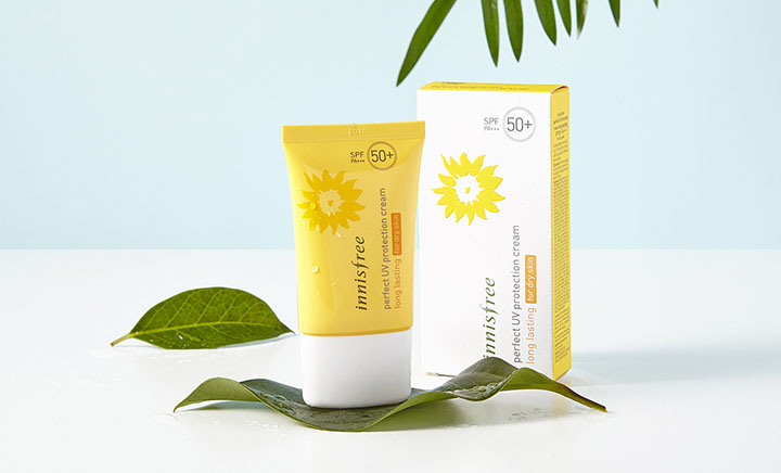 review kem chống nắng Innisfree Perfect UV Protection Cream long lasting for dry skin SPF 50+ PA+++