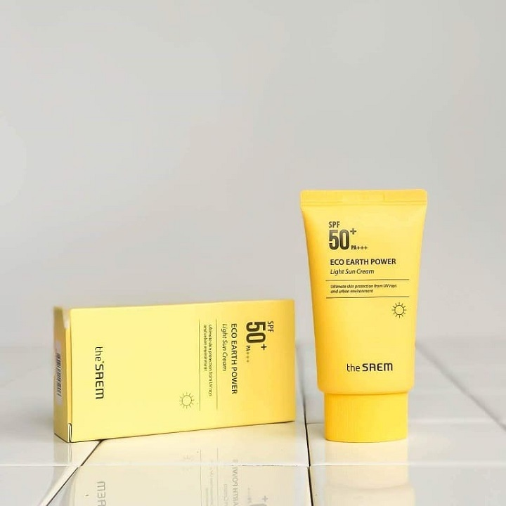 review kem chống nắng The Saem Eco Earth Power Light Sun Cream